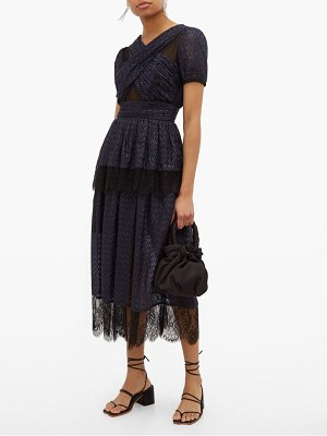 self-portrait lace trimmed tiered metallic fil coupé dress