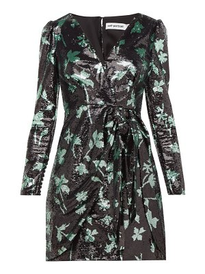 self-portrait leaf sequinned wrap dress