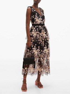 self-portrait midnight floral sequinned tiered tulle midi dress