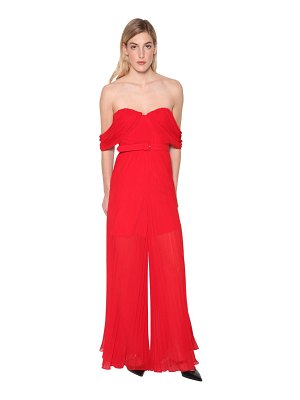 self-portrait Off-the-shoulder pleated techno jumpsuit
