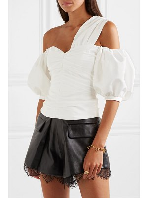 self-portrait off-the-shoulder ruched taffeta top