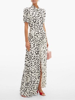 self-portrait open back leopard print crepe maxi dress