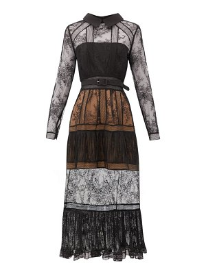 self-portrait point collar lace-insert tiered dress