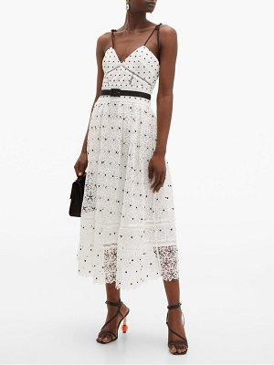 self-portrait polka dot & floral lace midi dress