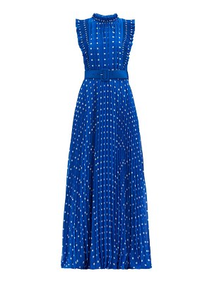 self-portrait polka-dot plissé-pleat chiffon gown