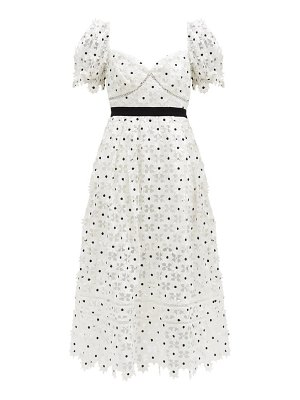 self-portrait puff-sleeve daisy-lace midi dress