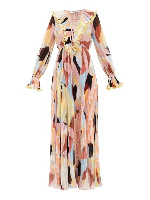 self-portrait ruffled geo-print plissé-georgette maxi dress