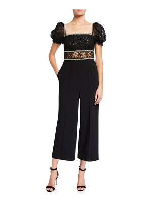self-portrait Sequined Circle Lace Jumpsuit