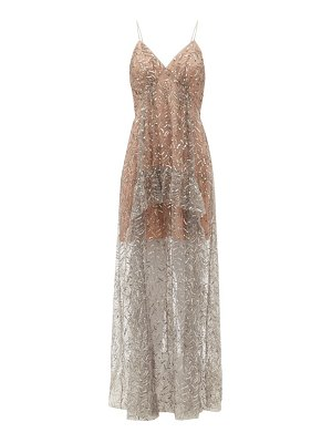 self-portrait sequinned tulle maxi dress