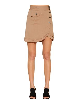 self-portrait Stretch crepe mini skirt