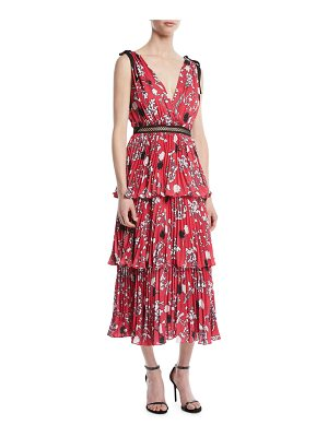self-portrait Tiered Floral Crepe de Chine Midi Dress