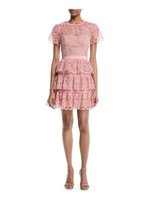 self-portrait Tiered Lace Scalloped Mini Cocktail Dress
