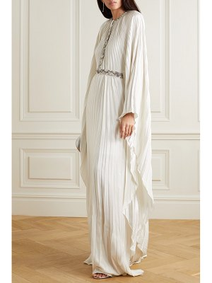SemSem cape-effect bead-embellished pleated lamé maxi dress