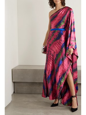 SemSem one-shoulder draped tie-dyed silk-satin maxi dress