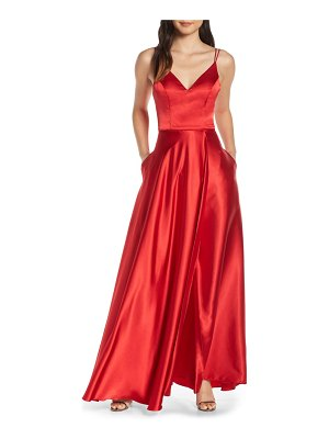 Sequin Hearts double strap satin evening gown
