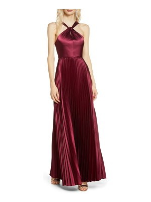 Sequin Hearts pleated satin halter gown