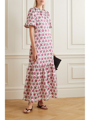 Seren cece ruffled floral-print cotton-twill maxi dress