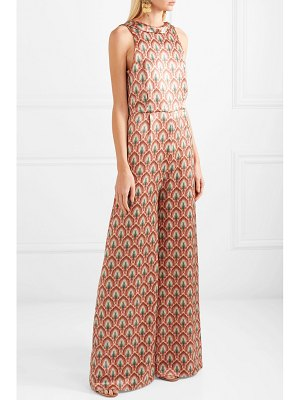 Seren lola open-back printed silk-satin jumpsuit