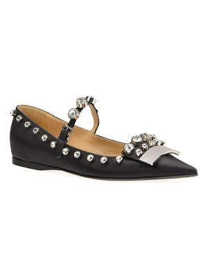 Sergio Rossi SR1 Satin Mary Jane Flats