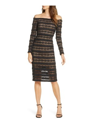 SHO by Tadashi Shoji crinklela off the ulder long sleeve lace dress