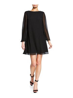 Sho Long-Sleeve Backless Chiffon Mini Cocktail Dress