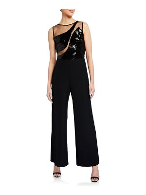 Sho Sequin Sheer Inset Sleeveless Crepe Illusion Jumpsuit