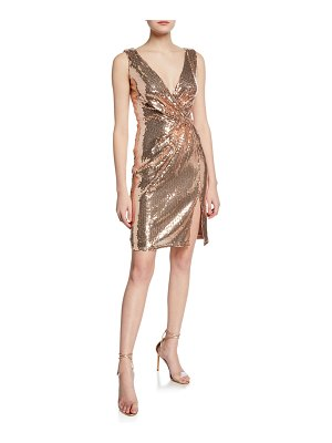 Sho Sequin Sleeveless Mini Wrap Dress