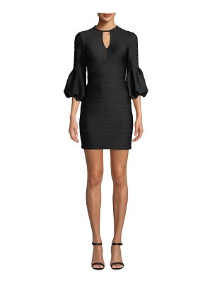 Shoshanna Crewneck Balloon-Sleeve Stretch-Knit Jacquard Mini Dress