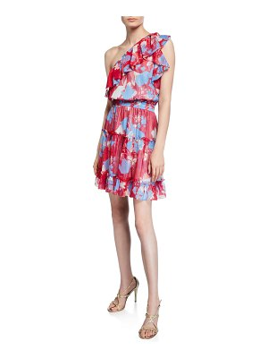 Shoshanna Kiya Kelaa Rose-Print One-Shoulder Smock-Waist Ruffle Dress