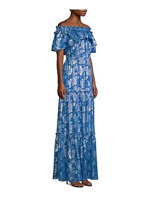 Shoshanna milani metallic floral off-the-shoulder silk maxi dress
