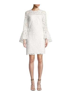 Shoshanna Riverside Lace Trumpet-Sleeve Dress