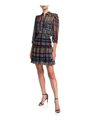 Shoshanna Selina Printed 3/4-Sleeve Smock-Waist Fit-&-Flare Dress