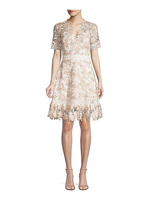 Shoshanna toscana floral lace a-line dress