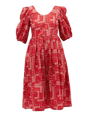 Shrimps brock paisley-embroidery cotton-seersucker dress