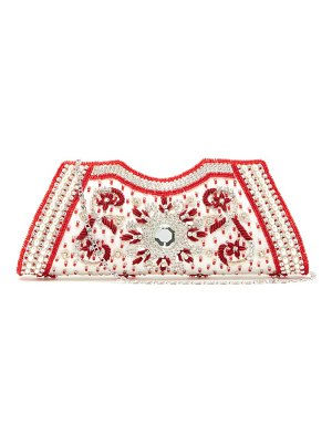 Shrimps dallas crystal, faux-pearl and beaded satin clutch