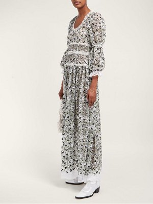 Shrimps floral cotton-blend chantilly-lace dress