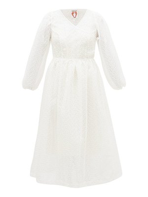 Shrimps georgia broderie-anglaise organza wrap dress