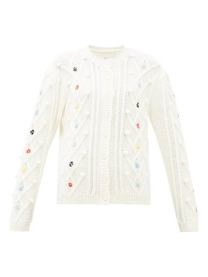 Shrimps mc coy floral-embroidered wool-blend cardigan
