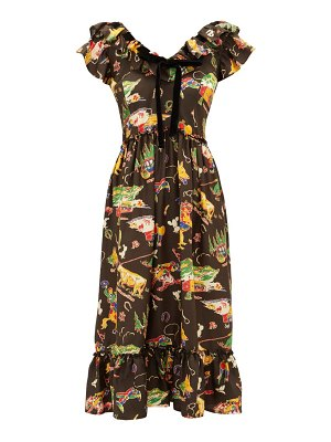 Shrimps rio rodeo-print silk-satin dress
