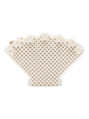 Shrimps shell faux pearl embellished clutch