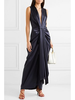 Sid Neigum gathered pleated satin gown