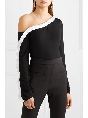 Sid Neigum one-shoulder satin-trimmed stretch-knit top