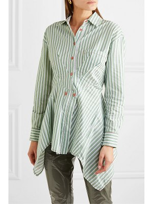 SIES MARJAN ainsley pintucked striped cotton-blend poplin shirt