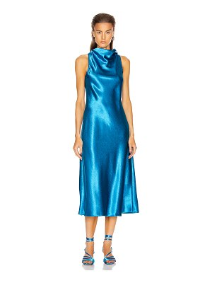 SIES MARJAN andy glossy satin cowl neck bias dress