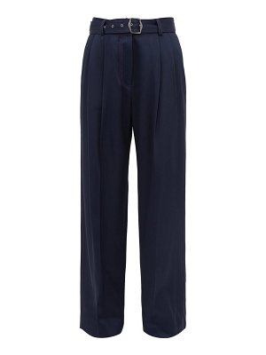 SIES MARJAN blanche topstitched wide leg trousers
