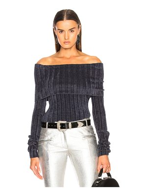 SIES MARJAN Daphne Velour Rib Off Shoulder Sweater