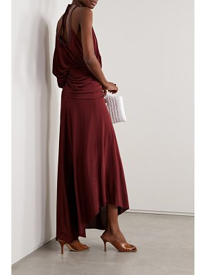 SIES MARJAN gia one-sleeve faux leather-trimmed satin-jersey gown