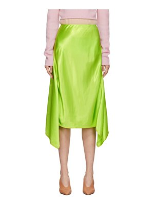 SIES MARJAN green satin asymmetric darby skirt