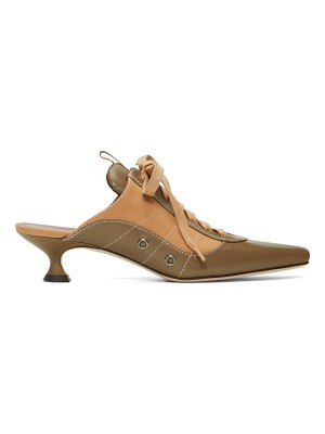 SIES MARJAN khaki and brown alice lace up mules