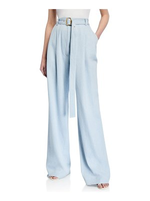 SIES MARJAN Light Wash Denim Wide-Leg Pants w/Belt